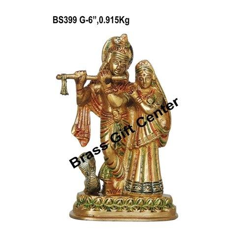 Brass Radha Krishna Statue Murti In Multicolour Lacquer Finish - 6 Inch  BS399 G