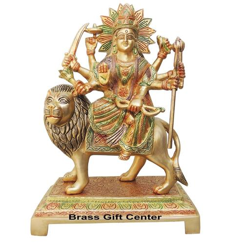 Brass Durga Ji StatueMurtiIdol With Color Lacquer Finish - 12.5 Inch BS937 C