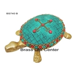 Brass Tortoise Kachua With Turquoise Coral Stone Work - 74.32 Inch  BS740 B