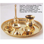 Brass Puja pooja Thali With Bell Roli Katori Dhoopagarbatti Holder A Panchamrut Set With Spoon Z322 A
