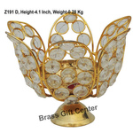 Brass Diya Deepak with Crystal Beads No. 4 - 5.9*5.9*4.1 inch  (Z191 D)