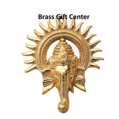 Wall Hanging Ganesh in gold finish - 9.8 inch AS243 G