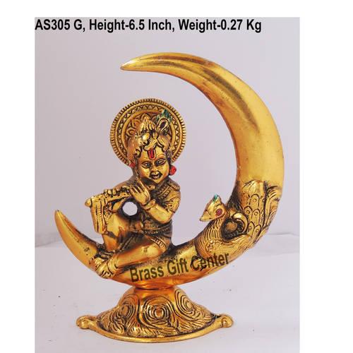Krishna on Moon Statue Murti Idol In Gold Antique Finish - 5.5x2.5x6.5  Inch