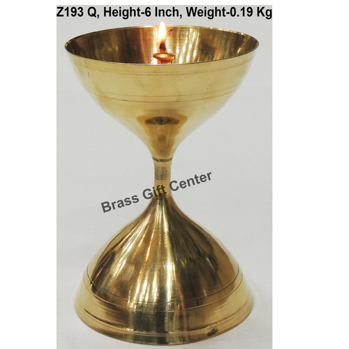 Brass Akand Diya Deepak No. 17 - 4.1*4.1*6 Inch  (Z193 Q)