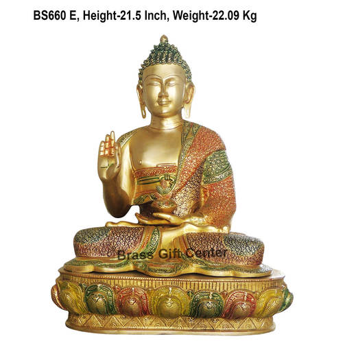 Brass Buddha Statue Murti Idol In Multicolour Lacquer Finish - 16.4*11.5*21.5Inch  (BS660 E)