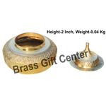 Brass Handicraft Sindoor Dani, Dabbi With Brass Finish - Height 2 Inch F416 A
