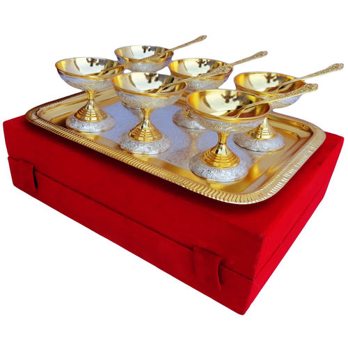 6 Ice Cream Bow Set Of 13 PCs Gold And Silver Finish B160