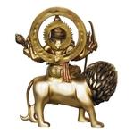 Brass Durga Murti Statue idol with Multicolour Lacquer finish - 11*4*13 inch  (BS418)