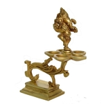 Ganesha Oil Lamp made of Brass Decorative Table Decor - 7.2 Inch BS1175 A