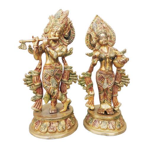 Brass Radha Krishna Statue Idol Murti in Multicolour lacquer Finish - 13 Inch (BS616 A)