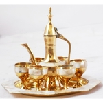 Brass Wine Set With Seep Work 6 Glass 1 Surahi 1 Tray Miniature Toy For Children Playing Z363 C
