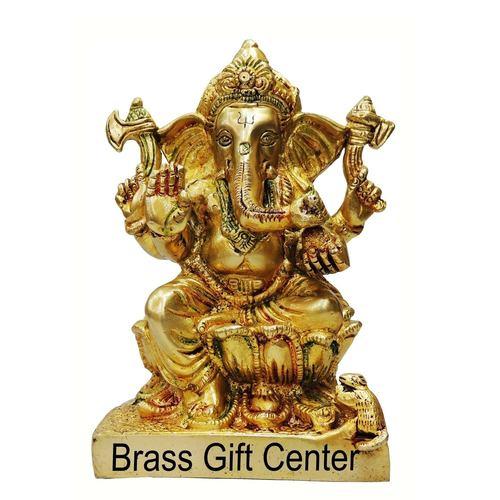 Brass Ganesh Statue In Multicolour Lacquer Finish - 53.37 Inch  BS667