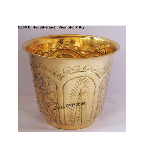 Brass planter Pot Gamala with Hand Work Diameter 10 Inch weight 700 gm  F655 E