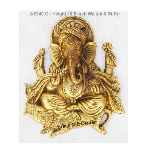 Wall Hanging Ganesh Statue Murti Idol In Gold Antique Finish - 8x10.5 Inch AS340 G