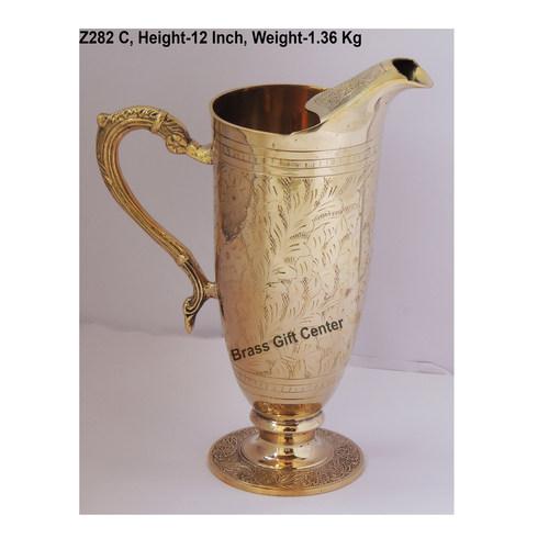 Brass Jug Mughal Design 1.3 Litre - 9*5*12 Inch  (Z282 C)