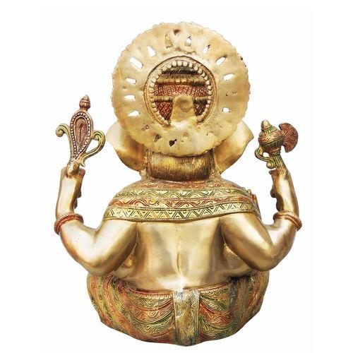 Brass Ganesh Statue In Multicolour Lacquer Finish - 18 Inch  BS492 A
