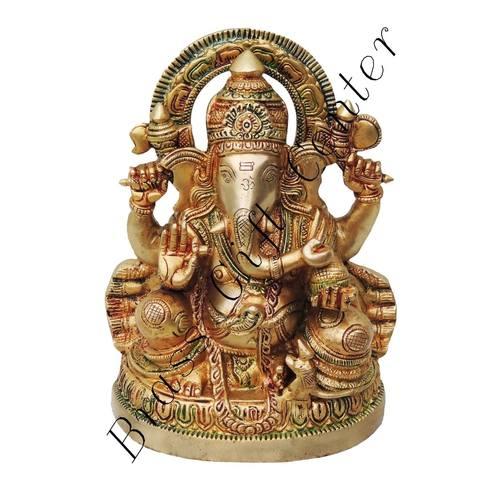 Brass Ganesh Statue In Multicolour Lacquer Finish - 6.4*4.3*8.8 Inch  (BS477)