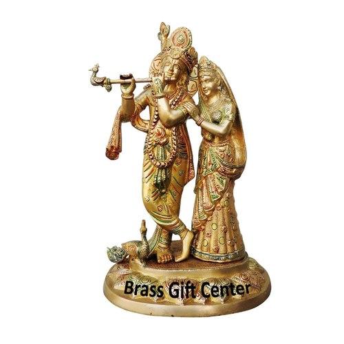 Brass Radha Krishna Statue Murti In Multicolour Lacquer Finish - 17 Inch  BS399 A