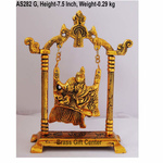 Radha Krishna jhaula In Golden Antique Finish - 5.62.57.5 Inch