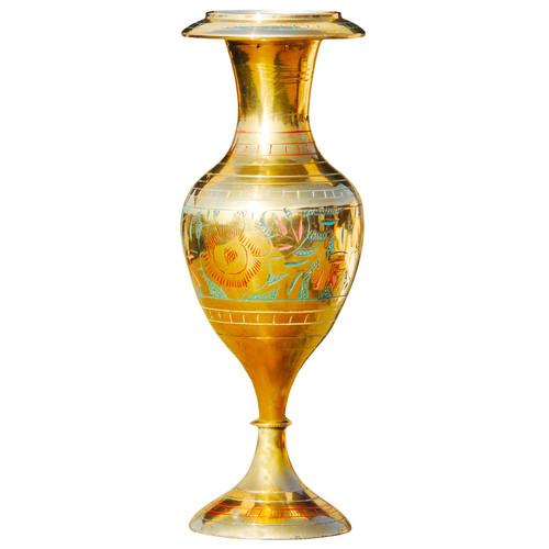 Brass Coloured Flower Vase with handwork - 3*3*7.5 Inch  (F148 C)