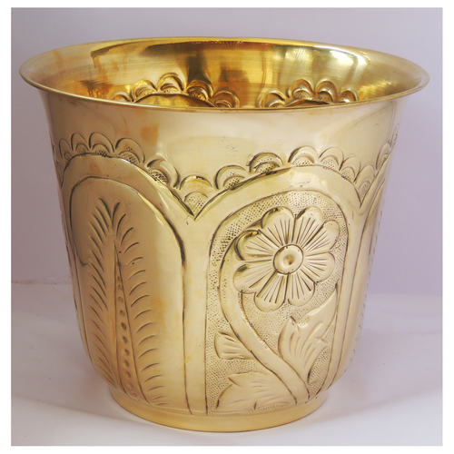 Brass planter Pot Gamala with hand Work Diameter 12 Inch weight 1.09 kg  (F655 F)