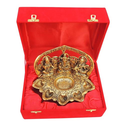 Showpiece Laxmi Ganesh Saraswati With Attached 5 Deepak In Gold Finish - 5 Inch AS378 G