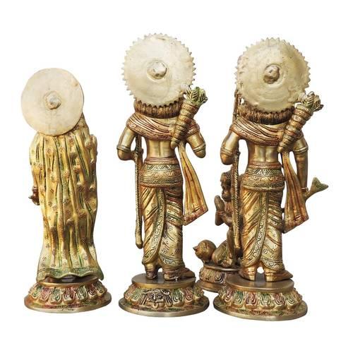 Brass Ram Dharbar Statue Idol Murti Multicolour  lacquer finish - 15.5*9.5*15.3 Inch  (BS827 A)