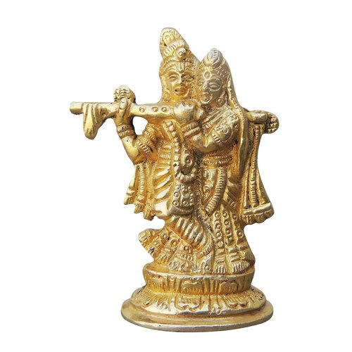 Brass Radha Krishna With Cow Staute Idol Murti - 2.2*1.2*3 inch  (BS1007 A)