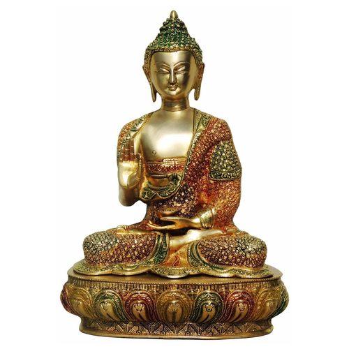 Brass Buddha Statue Murti Idol In Multicolour Lacquer Finish - 11x7.5x16Inch  (BS660 D)