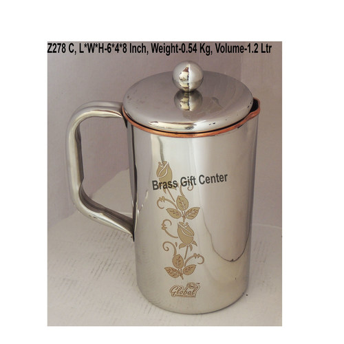 Copper And Steel Jug 1.2 Liter - 6x4x8 Inch  (Z278 C)