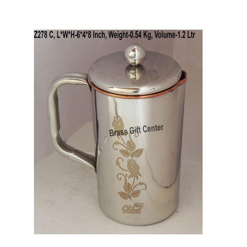 Copper And Steel Jug 1.2 Liter - 6x4x8 Inch  Z278 C