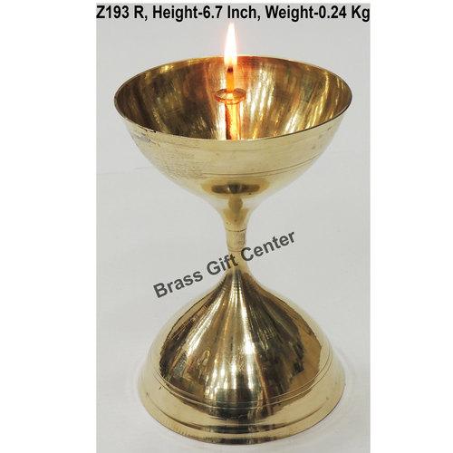 Brass Akand Diya Deepak No. 18 - 4.5*4.5*6.7 Inch  (Z193 R)
