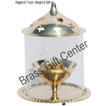 Brass Akand Diya Deepak With Chimney- 4.5 Inch Z0144