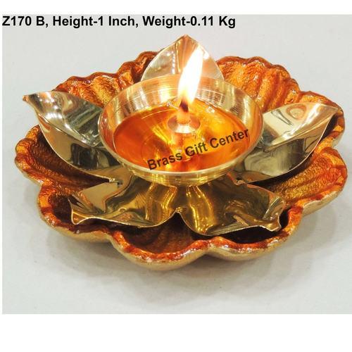 Brass and Aluminium coloured Diya Deepak - 3.8*3.8*1 inch  (Z170 B)