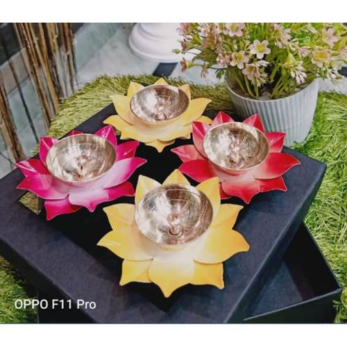 Brass and Iron Deepak Diya Set of 4 pcs packed in Attractive gift Box - 4 inch Z484 A