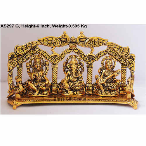 Laxmi Ganesh Saraswati LGS Statue Murti Idol In Gold Antique Finish 11x2.5x6 Inch AS297 G