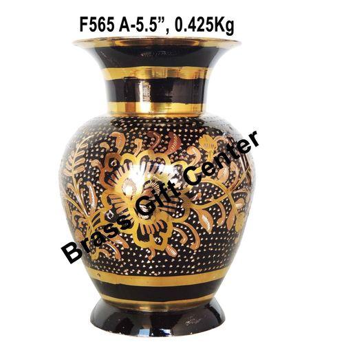Brass Coloured Flower Vase with handwork - 3.5*3.5*5.5 Inch  (F565 A)