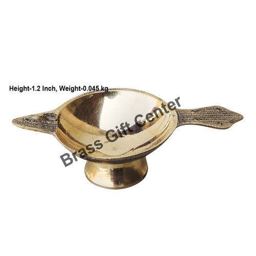 Brass Laxmi Deepak LD No. 2 Diya With Handle - 4 inch  (F626 C)