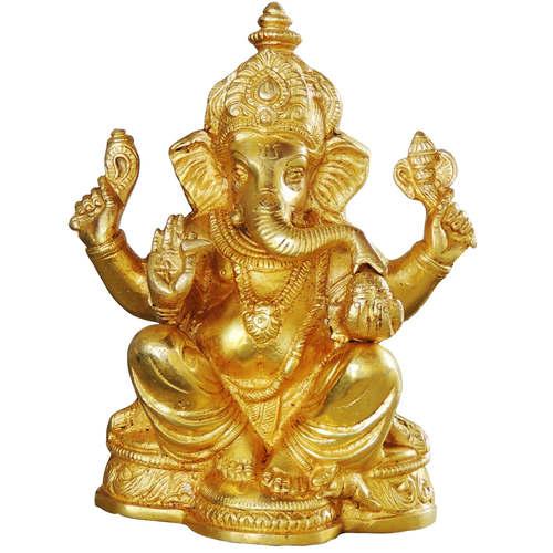 Brass Ganesh Idol Murti Statue 1.8 Kg - 7 Inch  BS1036 G