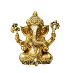Brass Ganesh Statue In Multicolour Lacquer Finish - 9.54.59 Inch  BS668 B