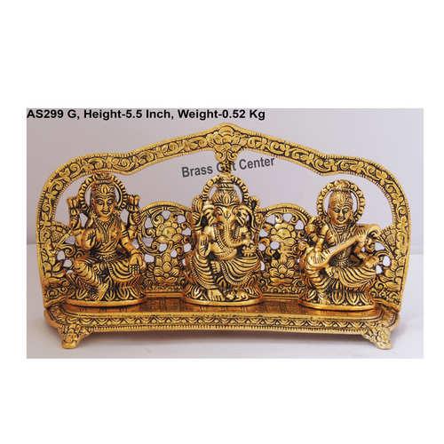Laxmi Ganesh  Saraswati LGS Statue Murti Idol In Gold Antique Finish - 9.5x2x5.5 Inch