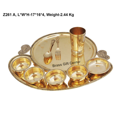 Brass Thali, Brass Table Thali, Thaali,  , Brass Plate,  , Thali Set, Yellow Brass Thali, Brass Diner Set, Dinnor Set, Dinner Items, Brass Dinner