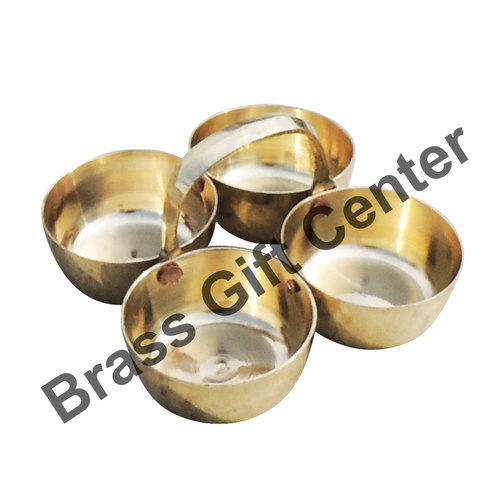 Brass Chokta Small 4 Bowl Combined - 3.1*3.1*1.8 Inch  (Z142 B)