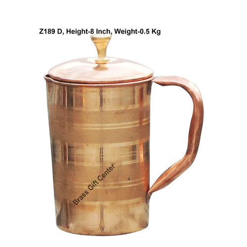 Pure Copper Jug 1.3 Litre  - 4.5*4.5*8 Inch  (Z189 D)