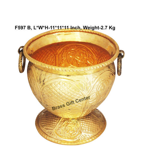Brass planter Pot Gamala Chatai Diameter 11 Inch weight 2.7 Kg  F597 B