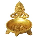 Brass Decorative oil lamp with Laxmi Ji Brass Table Diya - 4 Inch BS1160 L