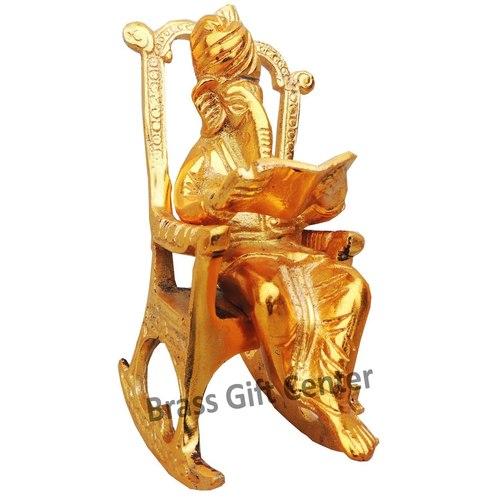 Ganeshji reading book in gold finish- 6 Inch AS241 G