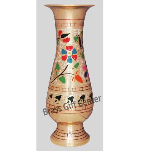 Brass Flower Vase pot with Handwork - 3.4*7.5*8.5 Inch  (F659 F)