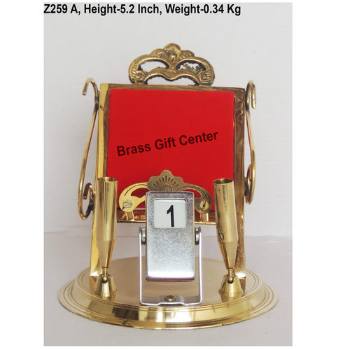 Brass Pen And Mobile Stand With Date Display - 5.54.85.2 Inch  Z259 A