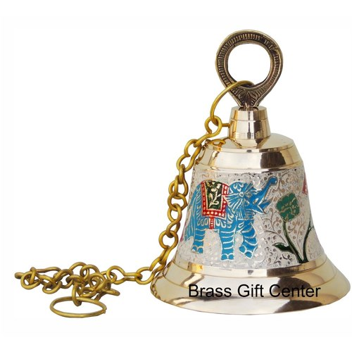 Brass Temple Bell With Handicraft Colour 5 Inch F514 C